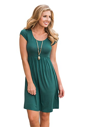Price comparison product image SRYSHKR Women Lace Short Sleeve Tunic Scoop Neck A-Line Round Shirt Casual Blouse Tops (Green, L)