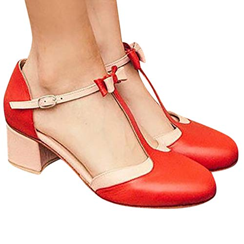 (Women's Sweet Rome Round Toe Vintage T-Straps Bows Mary Janes Square Heel Shoes)