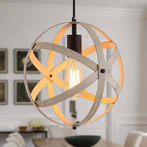 Q&S Farmhouse Globe Pendant Light Fixture,ORB and Oak White Finish,Rustic Cage Chandelier Hanging Light Fixture for…