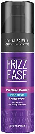 John Frieda Frizz Ease Firm Hold Hairspray, 12 Ounce Humidity Resistant Spray, for 24-hour Hold, featuring our unique Moisture Barrier