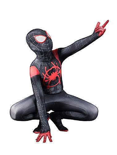 DAELI Into Spider-Verse Costume Miles Morales Costume (Miles Morales, M Suitable for 110-120 cm Kids) -