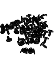 50 PCS Black Plastic Oval Safety Solid Toy Nose Eyes for DIY Sewing Crafting Buttons for Toy Plush Bear Animals Doll Puppet Screw Nose Decoration (14x17 mm)