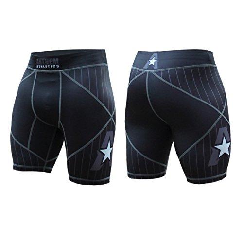 Anthem Athletics HELO-X Vale Tudo Compression Shorts - BJJ, MMA, Muay Thai - Black Pinstripe - Large