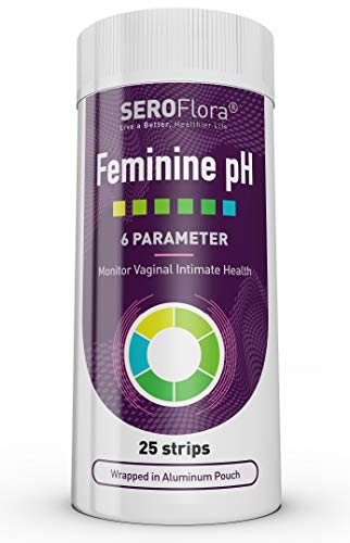 Feminine Vaginal pH Test Strips by Seroflora - Monitor Vaginal Intimate Health - Accurate and Easy to Use - 25 pH Strips Green Normal pH affixed to a Plastic Strip -Wrapped in an Aluminum Pouch