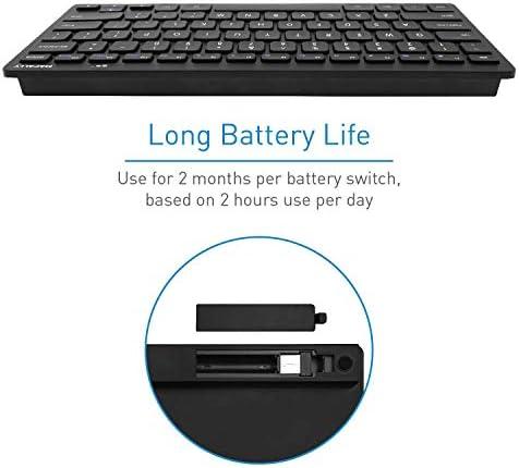 Macally 2.4G Mini teclado inalámbrico – ergonómico y cómodo – pequeño teclado para ordenador portátil o Windows PC, tableta, Smart TV – Plug & Play Teclado compacto 12 teclas de acceso rápido multimedia 10