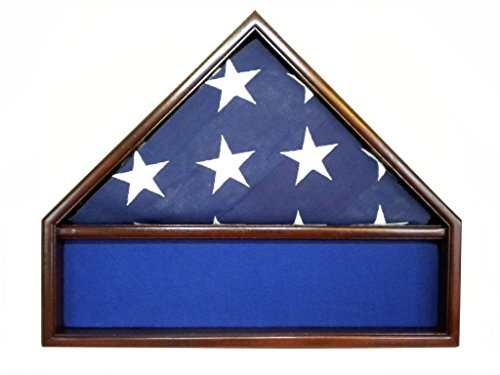 Solid Mahogany Flag and Memorabilia Case for 5' x 9.5' Memorial Flag, USA Made Fine Furniture Quality- Blue Felt by USAFlagCases