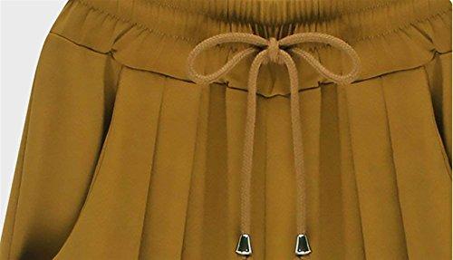 Moda Grazioso Estivi Donna Monocromo Tasche Gelb Accogliente Interna Pantaloni Traspirante Tempo Strappy Vita Pants Giovane Alta In Coulisse Eleganti Baggy Larghi Pantaloni Con Moda Lunga Libero Pantaloni aEq478xwq