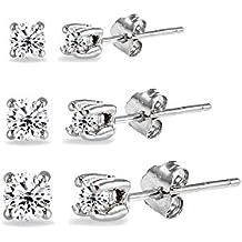 3 Pair Set Sterling Silver Cubic Zirconia Round Stud Earrings, 3mm 4mm 5mm