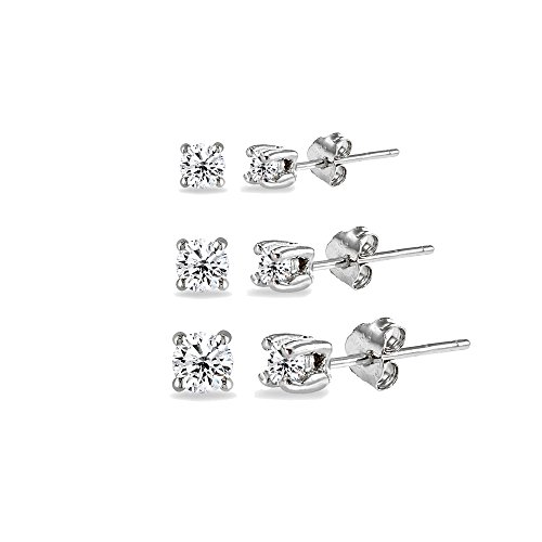 Silver Earring Button - 3 Pair Set Sterling Silver Cubic Zirconia Round Stud Earrings, 3mm 4mm 5mm