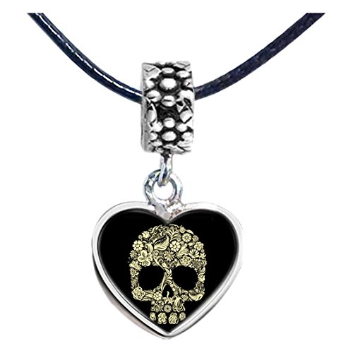 GiftJewelryShop Silver Plated Halloween skeleton clip art Photo Flower Head Dangle Heart Bead Charm Bracelets ()
