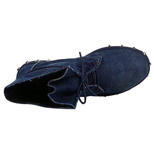 Stiefelparadies Damen Schnürstiefeletten mit Blockabsatz Basic Flandell Dunkelblau Nieten Denim