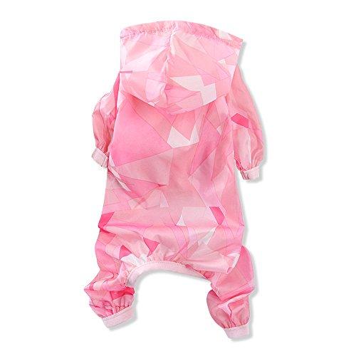 BBEART Dog Raincoats, Small Dog Skin Clothes Four-legged Pet Raincoat Rain Jacket Jumpsuit Rain Poncho Coat Windproof Sun Protection Rainproof Clothes for Small Dogs Puppy Cat (XS-Length 20cm, Pink)