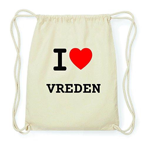JOllify VREDEN Hipster Turnbeutel Tasche Rucksack aus Baumwolle - Farbe: natur Design: I love- Ich liebe
