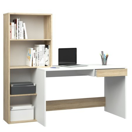 - Tvilum Whitney Desk with 4 Shelf Bookcase, White + Handi Wipes