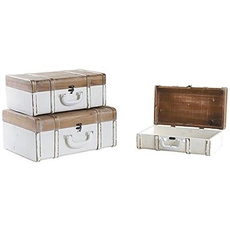Aubry Gaspard Bamboo Decorative Storage Suitcases