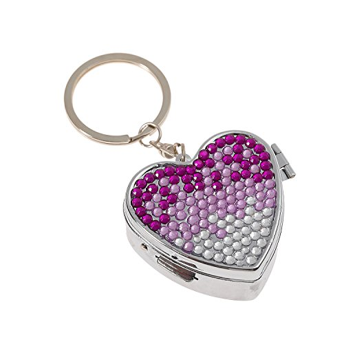 Luxury Handmade Portable Heart Shape Gradient Purple Bling Crystal Pill Box Cute Travel Rhinestone Pill Container Case ()