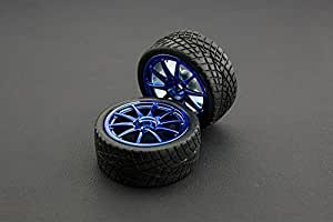 Angelelec DIY Open Source D65MM Rubber Wheel Pair Blue (Without Shaft),for Small Robot Mobile Platforms,Soft Black Rubber With Light Tread for Added Traction in Rugged Terrain,to Micro DC Geared Motor