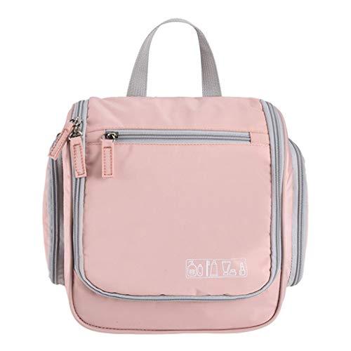 Ktyssp Unisex Hanging Toiletry Bag Large Cosmetic Makeup Travel Organizer with Hook Makeup Bag (Pink)