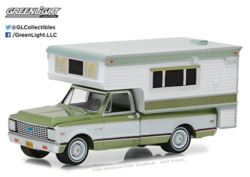 Greenlight No 1972 Chevrolet C10 Cheyenne Green with Large Camper Hobby Exclusive 1/64 Diecast Model Car 29921