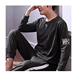 Femaroly Pajamas Men's Long-Sleeved Cotton Young Boys Thin Sleepwear Durable Flexible OliveDrab Small