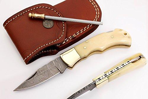 RA-5167-B Custom made damascus steel folding lock back knife bone handle and brass (Bone Handle Pocket)