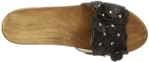 Woody Lilli 14250/85 - Zuecos de cuero para mujer Negro (Schwarz (Dixan Negro))
