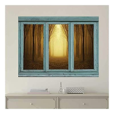Incredible Style, Vintage Teal Window Looking Out Into a Bright Yellow Light and Sepia Forest Wall Mural, Premium Product