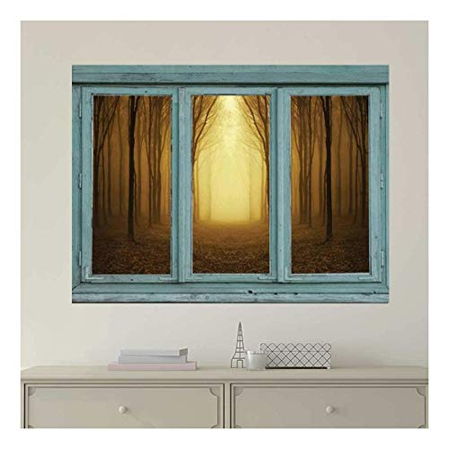 Vintage Teal Window Looking Out Into a Bright Yellow Light and Sepia Forest Wall Mural