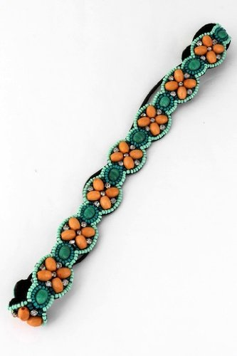 Regalia Beaded Rhinestone Elastic Stretch No Slip Headband (Hair Jewelry) - I...