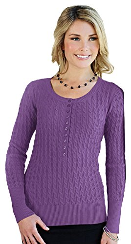 Tri-mountain Womens 100% Cotton Long Sleeves Henley Cable Sweater. LB922 - PURPLE_S -