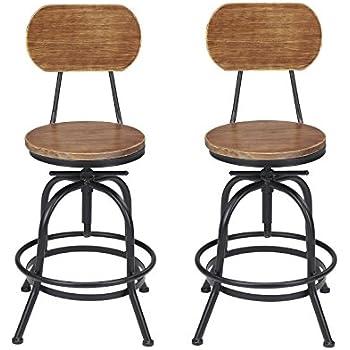 Amazon Com Vilavita Set Of 2 Adjustable Round Wooden Bar