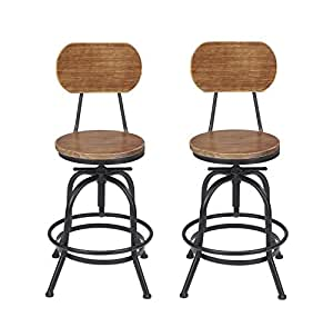 Vilavita Set of 2 Adjustable Round Wooden Bar Stools with Backrest, Retro Finish Bar Chairs with Wooden Seat and Wrought Iron Frame Swivel Bar Stool