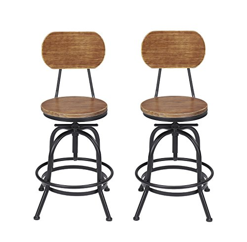 Iron Finish Bar (VILAVITA Set of 2 Adjustable Round Wooden Bar Stools with Backrest, Retro Finish Bar Chairs with Wooden Seat and Wrought Iron Frame Swivel Bar Stool)