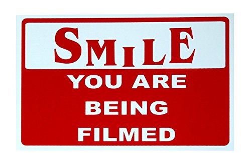 1-Pc Astonishing Unique Smile You Are Being Filmed Sign Camera Safety Video Surveillance CCTV Security Outdoor Neighbor Warning Business Home Premises Hour Yard Signs House Trespassing Size 7