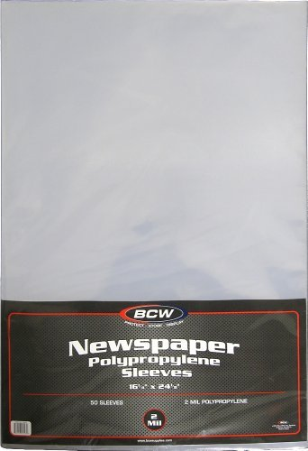 BCW Newspaper 2-mil Polypropylene Sleeves 16