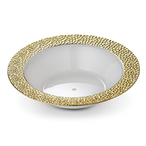 (Laura Stein Designer Tableware Premium Heavyweight 12 Ounce White Bowl And Gold Rim Plastic Party & Wedding Soup Bowls Glitz Series Disposable Dishes Pack of 8 Soup Bowls)