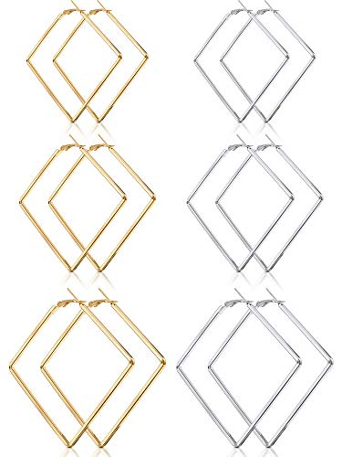 6 Pairs Stainless Steel Square Earrings Geometric Hoop Earrings for Women Girls Daily and Party Wear, Gold and Silver