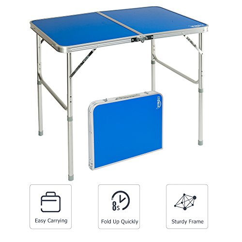 Adjustable 2 Leg Table - VINGLI Folding Table with Aluminum Legs, 2 Adjustable Height,35.4''L x 23.6''W for Picnic Camping Party BBQ, Portable Lightweight Utility Outdoor Tables with Carrying Handle
