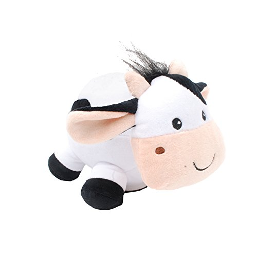 Linzy Plush Cow Coin Bank with Moo Sound, White 8'' by Linzy Plush