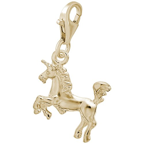 14k Yellow Gold Unicorn Charm With Lobster Claw Clasp, Charms for Bracelets and Necklaces ()