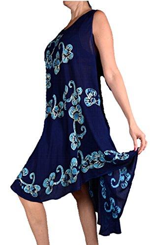 Ibiza Sommer Lagenlook Tunika Kleid Stickerei abstrakt Print 42 44 46 48 50 M L XL XXL Urlaub Strand Blau WtOmeD3