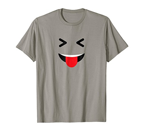 Funny Happy Naughty Emoji Face Lazy Costume Halloween TShirt ()