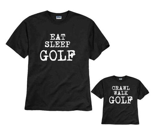 Eat Sleep Golf Black Shirt - Adult X-Large, S/S (Father Golf Shirt)