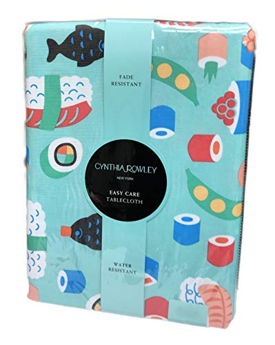 Sushi Roll Pieces Oblong Easy Care Party Tablecloth Table Cover (60 x 84)