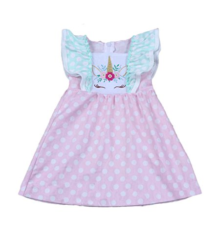 Yawoo Haan Girls Summer Party Unicorn Embroidery Baby Boutique Dress B 5-6T ()