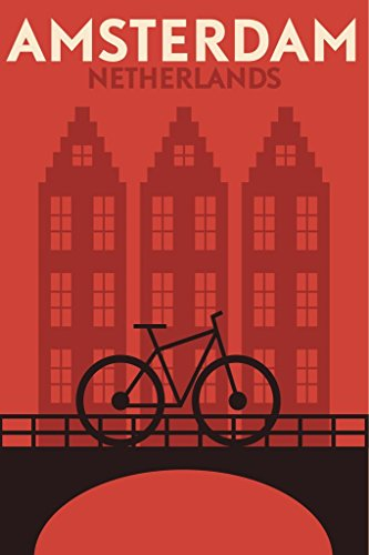 Amsterdam Netherlands Bicycle Retro Travel Art Poster 24x36 inch