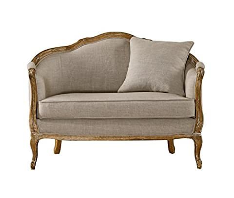 Baxton Studio Corneille French Country Weathered Oak Linen Upholstered 1-Seater Lounge Chair, Medium, - French Country Living Room Furniture