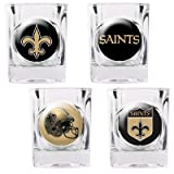 New Orleans Saints - 4 Piece Square Shot Glass Set w/Individual Logos