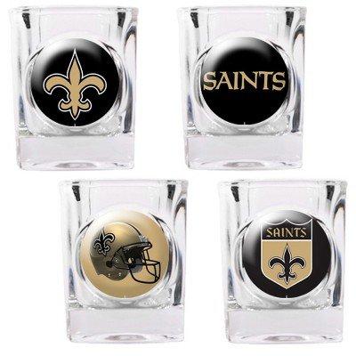 New Orleans Saints - 4 Piece Square Shot Glass Set w/Individual Logos (New Orleans Saints Nfl Glass)