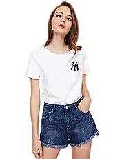 CPAI Camiseta de béisbol MLB NY Yankees para Mujer Camiseta de algodón Deportiva de Manga Corta para niñas,Blanco,S